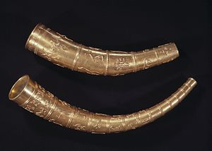 Golden Horns of Gallehus - The copies of the Golden Horns of Gallehus exhibited at the National Museum of Denmark