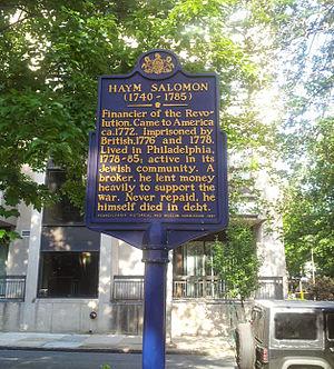 Haym Salomon - Pennsylvania Historical Marker, 44 N 4th Street, Philadelphia (July 2014)