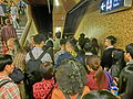 HK MTR Station 上環站 Sheung Wan entrance stairs many people peak hours jam Nov-2013.JPG