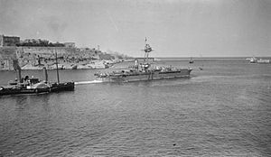 HMS Raglan - Raglan leaving Malta for Brindisi during the First World War.