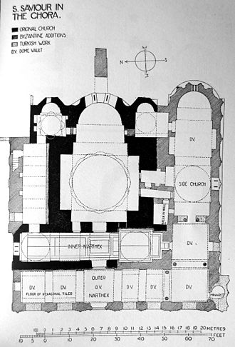 Narthex - Floorplan of the Chora Church, showing both inner and outer narthex.