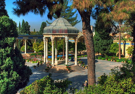 Tomb of Hafez, the medieval Persian poet whose works are regarded as a pinnacle in Persian literature and have left a considerable mark on later Western writers, most notably Goethe, Thoreau, and Emerson. Hafez 880714 095.jpg