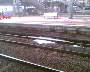 2010 Victorian storms - Patches of hail remained at Southern Cross railway station until the afternoon of Sunday 7 March 2010