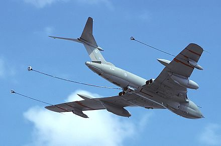 An RAF Victor K2 trails its three hose lines - standard operations would usually see small aircraft refuelling from the two wing hoses, while larger aircraft would use the longer belly hose. - Aerial refueling