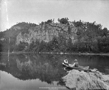 Canoers at Hanging Rocks on the South Branch in the 1890s Hanging Rocks Wappocomo WV 1890s.jpg