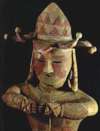 Wa (Japan) - A tattooed Haniwa statue, 4th-6th century, Kamiyasaku Tomb, Fukushima Prefecture.