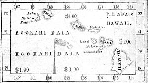Lorrin Andrews - A map of the islands on the one dollar bill