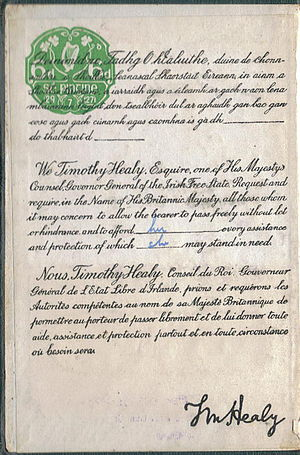Irish nationality law - 'Request' page of the Irish Free State passport as issued in 1927