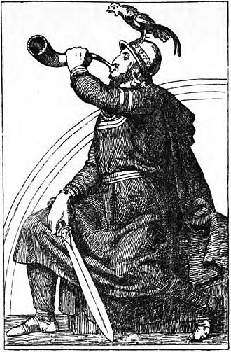 "Heimdallr - The cock Gullinkambi atop his head and the burning rainbow bridge Bifröst in the background, Heimdallr blows into Gjallarhorn while holding a sword with a man's face on it (a reference to the ""man's head"" kenning). Illustration (1907) by J. T. Lundbye."