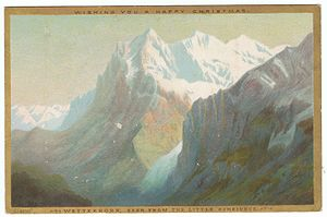 Wetterhorn - Chromolithograph Christmas card, of the Wetterhorn, seen from the Little Scheideck, by Helga von Cramm, c. 1880.