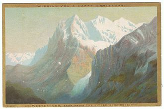 Wetterhorn - Chromolithograph Christmas card, of the Wetterhorn, seen from the Little Scheideck, by Helga von Cramm, c. 1880