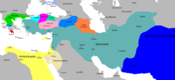 The empire at its greatest extent and on the eve of the death of Seleucus I, 281 BC