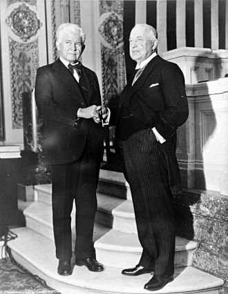 72nd United States Congress - House Majority Leader Henry Rainey (D, left) and House Minority Leader Bertrand Snell (R, right), December 8, 1931
