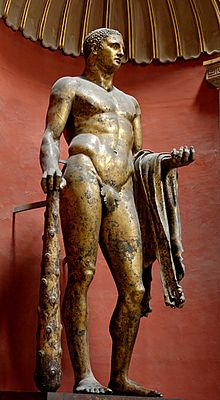 The Roman gilded bronze Hercules, found near the Theatre of Pompey in 1864, (Vatican Museums, Rome)