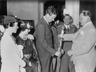 Hermann Goering gives Charles Lindbergh a Nazi medal