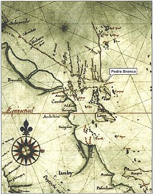 "Pedra Branca, Singapore - Detail of a 1620 ""Map of Sumatra"" by Hessel Gerritz, a cartographer with the Hydrographic Service of the Dutch East India Company. The location of the island of ""Pedrablanca"" (Pedra Branca) is marked."