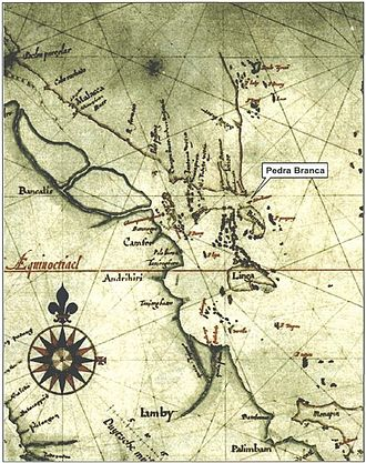"""Pedra Branca, Singapore - Detail of a 1620 """"Map of Sumatra"""" by Hessel Gerritz, a cartographer with the Hydrographic Service of the Dutch East India Company. The location of the island of """"Pedrablanca"""" (Pedra Branca) is marked."""