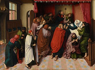 Death of the Virgin (van der Goes) - c 1500 copy of the Berlin work attributed to the Master of the Amsterdam Death of the Virgin, a follower of van der Goes. Rijksmuseum, Amsterdam.