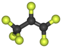 Ball-and-stick model of the hexafluoropropylene molecule