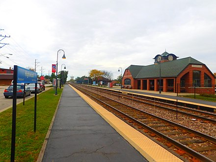 Highwood Metra Station located within the downtown of the city