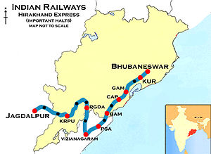 Jagdalpur - Hirakhand Express (BBS-Jagdalpur) Route map
