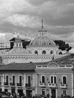 Religion in Ecuador - Dome roof of the La Compañía in Quito viewed from the Plaza San Francisco