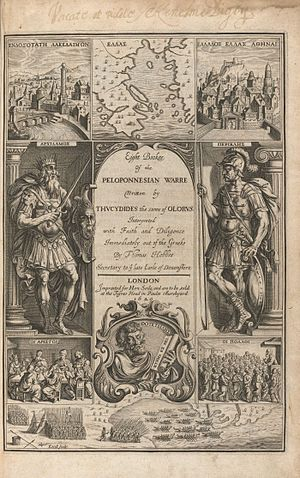 History of the Peloponnesian War - Title page to a translation by Thomas Hobbes