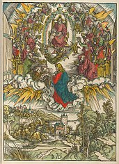 Saint John kneeling before Christ and the twenty-four elders