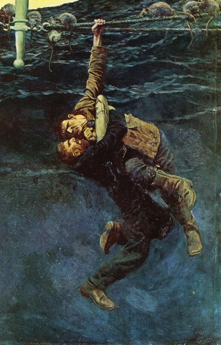 "He lost his hold and fell, taking me with him from ""The Grain Ship"" by Morgan Robertson, in Harper's Monthly Magazine, March 1909"