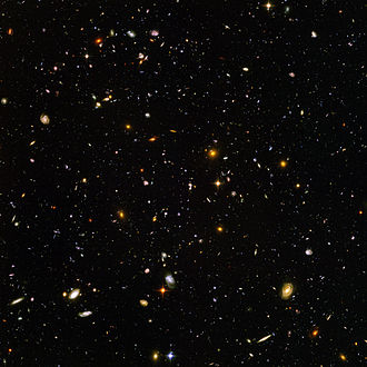 Deep space exploration - This high-resolution image of the Hubble Ultra Deep Field includes galaxies of various ages, sizes, shapes, and colors. The smallest, reddest galaxies, are some of the most distant galaxies to have been imaged by an optical telescope.