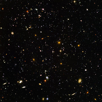 The Hubble Ultra Deep Field, is an image of a ...