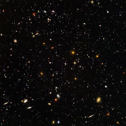 The deepest visible-light image of the universe, the Hubble Ultra-Deep Field Hubble ultra deep field high rez edit1.jpg