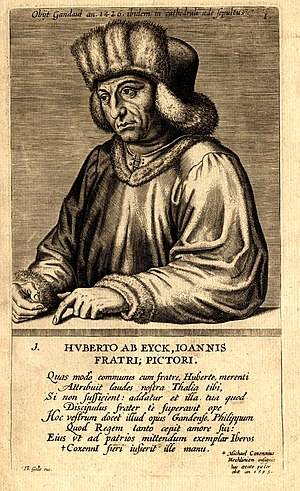 Hubert van Eyck - Woodcut portrait of Hubert van Eyck, by Edme de Boulonois, mid-16th century.