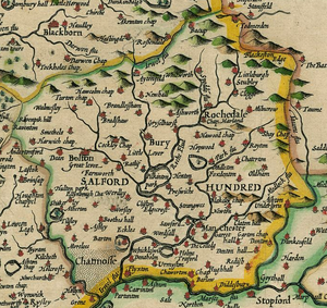 The Hundred of Salford as shown in John Speed's 1610 map of Lancashire