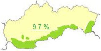 Hungary–Slovakia relations - Areas in Slovakia where Hungarian speakers make up at least 20%.
