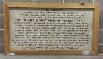 Opening of the Liverpool and Manchester Railway - Original tablet from the Huskisson Memorial, now in the National Railway Museum.