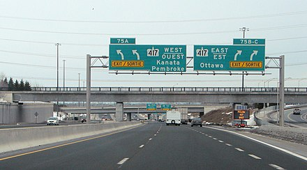 English and French displayed on a gantry sign. Communities with sizeable Francophone populations are able to receive provincial services in French. Hwy 416 Ottawa.JPG