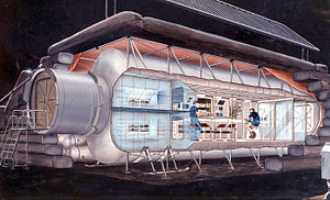 Lunar outpost (NASA) - An early lunar outpost design based on a module design. A connecting tunnel to the left permits the outpost module to connect to landers, rovers or other modules. Much of the equipment is built into standardized racks. Much of the hardware in the early outpost will be dedicated to crew health. Concept: NASA (1990)
