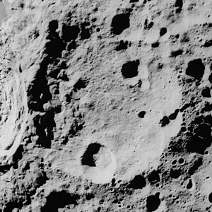 Ibn Firnas (crater) - Oblique Apollo 16 mapping camera image at lower sun angle than above