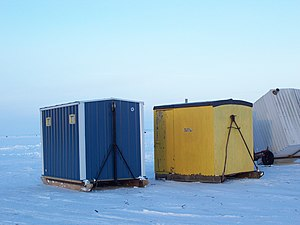 Ice shanty - Three ice shanties