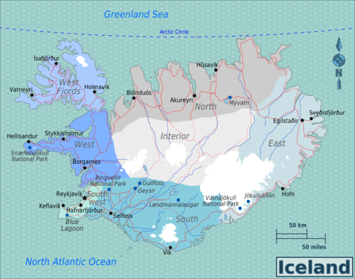 Iceland Travel guide at Wikivoyage – Iceland Travel Map