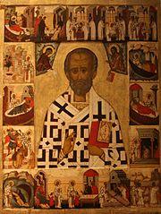 Den helige Nikolaus med scener ur hans liv