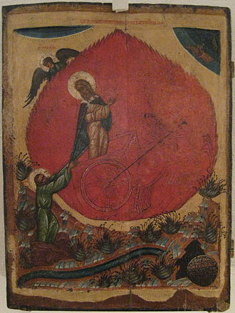 This common depiction of the prophet Elijah riding a flaming chariot across the sky resulted in syncretistic folklore among the Slavs incorporating pre-Christian motifs in the beliefs and rites regarding him in Slavic culture. Ilia chariot.jpg