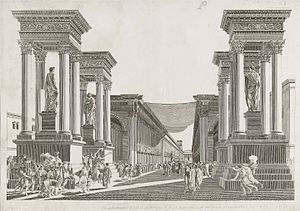 Tetrapylon - Imaginary view of Tetrapylon of Palmyra, Syria, anonymous artist after Louis-François Cassas, ca. 1799. Proof-plate etching. 17.9 x 25.7 in. (45.5 x 65.5 cm). The Getty Research Institute, 840011
