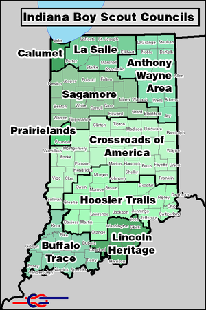 Scouting in Indiana - BSA Councils serving Indiana.