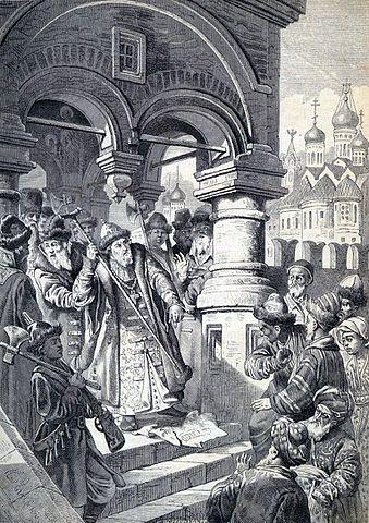 Рисунок К.Е.Маковского «Иоанн III и татарские послы» (1870)