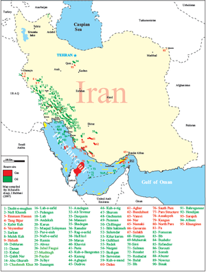 Natural gas reserves in Iran - Iran Gas Fields Location Map