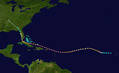 Track map of Hurricane Irma of the 2017 Atlantic hurricane season. The points show the location of the storm at 6-hour intervals. The colour represents the storm's maximum sustained wind speeds as classified in the Saffir–Simpson scale (see below), and the shape of the data points represent the nature of the storm. This track however does not show the full extent of areas that have been severely impacted, which extends to more than 100 km from the track.