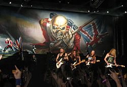 Iron Maiden performing at 2008's Somewhere Back in Time World Tour. From left to right: Bruce Dickinson, Adrian Smith, Steve Harris, Dave Murray, Janick Gers