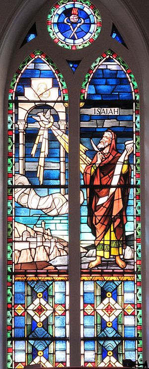 Isaiah - Isaiah receives his vision of the Lord's house. A stained glass window at St. Matthew's German Evangelical Lutheran Church in Charleston, South Carolina